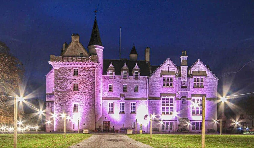 brodie castle at night